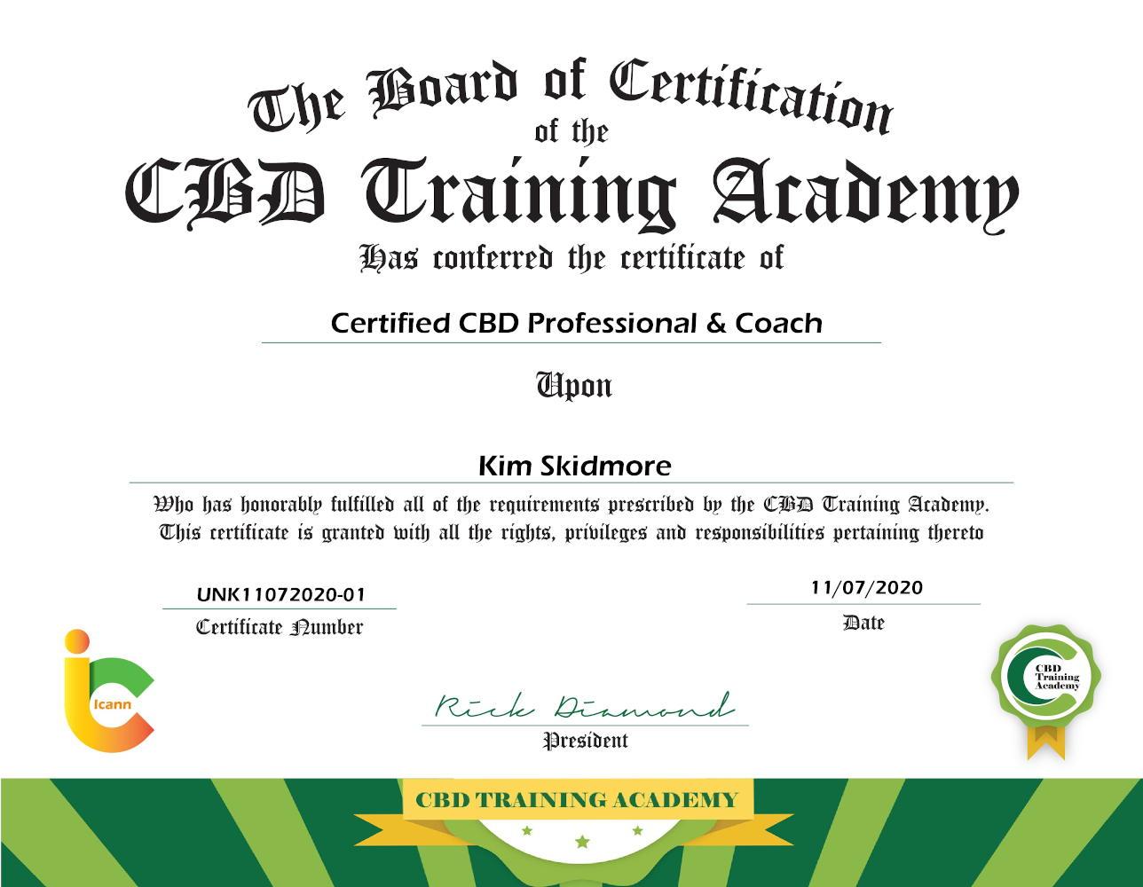 Certificate CBD coach